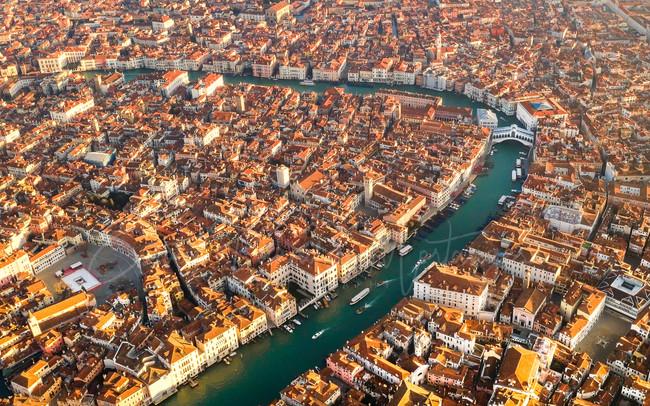 Panoramic aerial view Venice, Italy