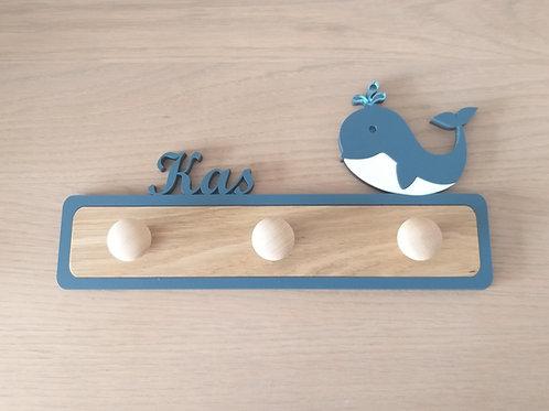 Kinderkapstok met naam en walvisje