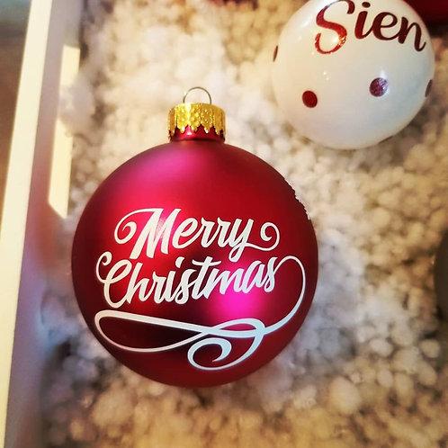 Kerstbal Merry Christmas met naam D8cm