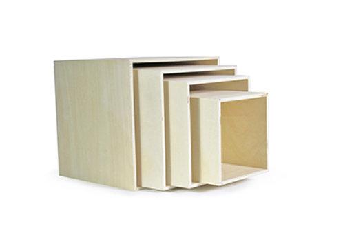 Set 4 vierkante doosjes naturel hout