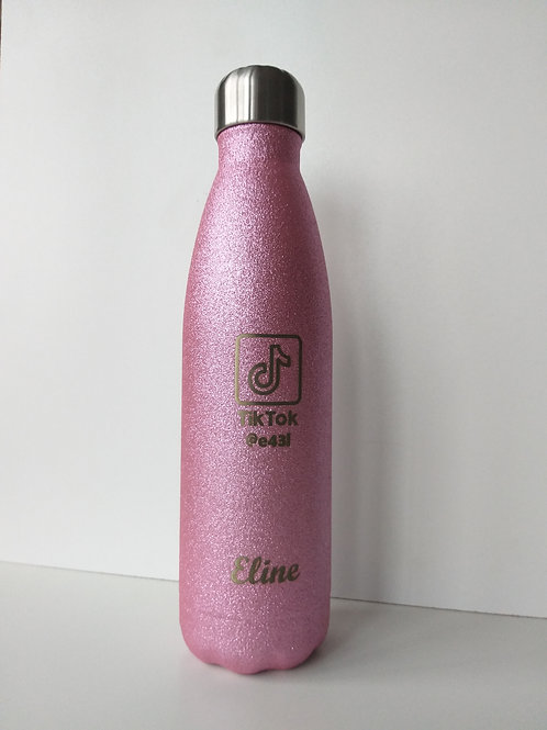 Thermosfles 500ml glitter met gravering.