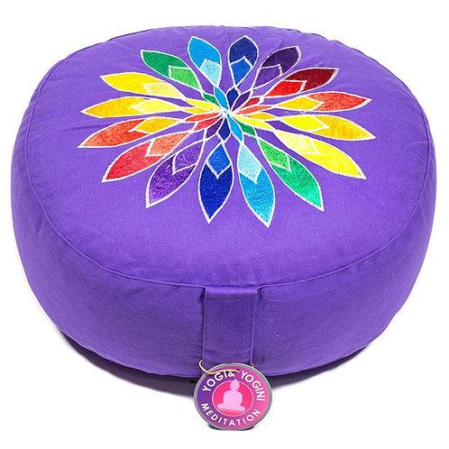 Coussin de méditation violet à fleur multicolore