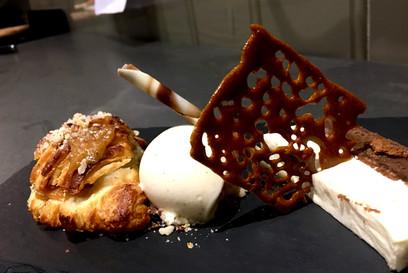 Pear & Cajeta (goat's dulce de leche) croissant, hazelnut, homemade apricot and orange ice cream, appel parfait, honeycombe