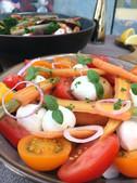 Heritage tomato salad, organic ODP mozzarella Envie Catering