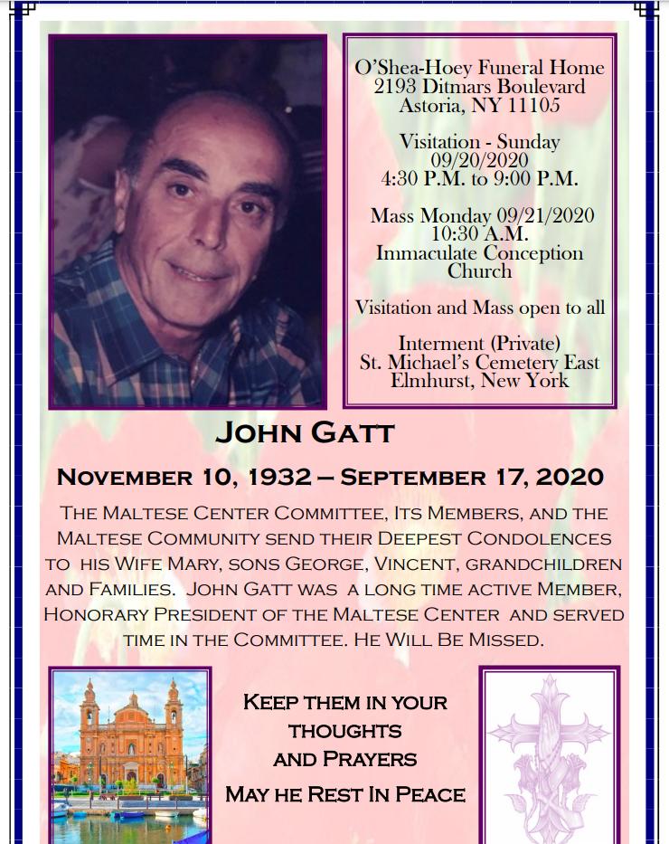 John Gatt 11/1932 - 09/2020