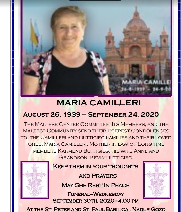 Maria Camilleri 8/1939-9/2020