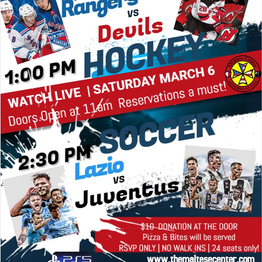 WATCH LIVE BROADCAST GAME DAY Rangers vs Devils   Lazio vs. Juventus