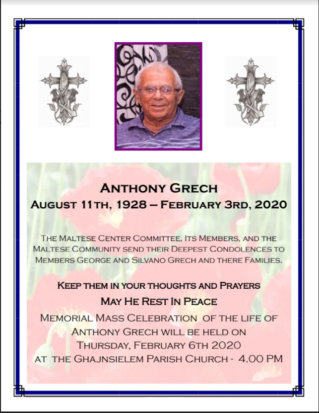 Anthony Grech 8/1928 - 2/2020