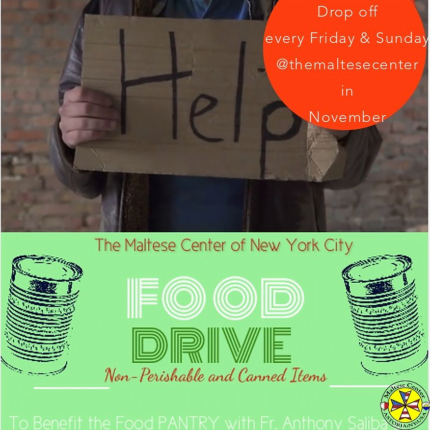 Annual Food Drive Week 3: Nov 15th  & Nov 17th