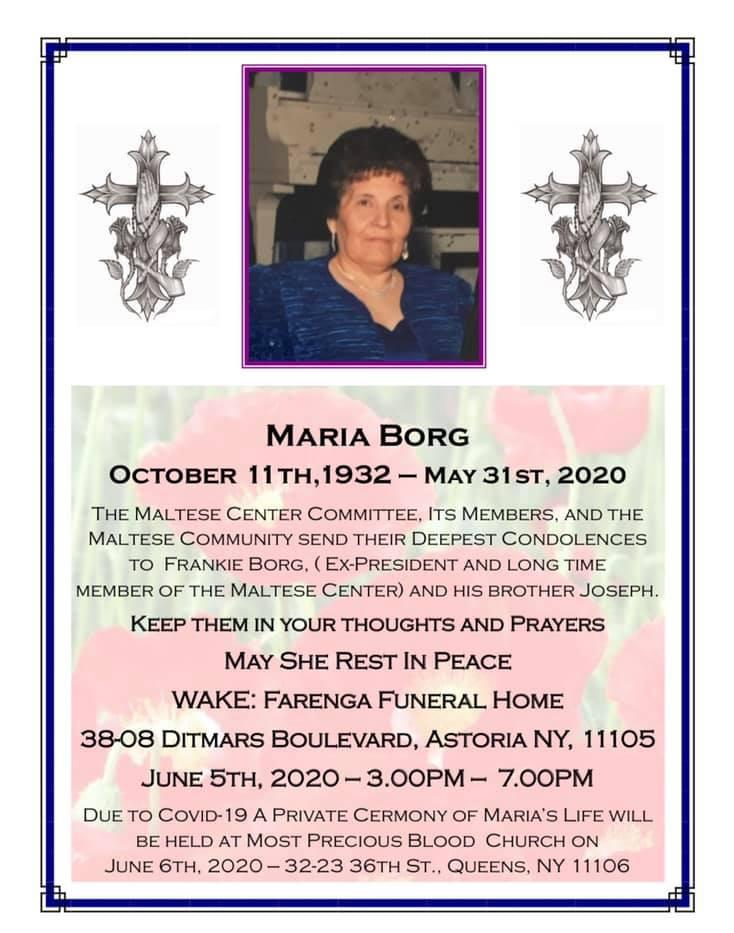 Maria Borg 10/1932-05/2020
