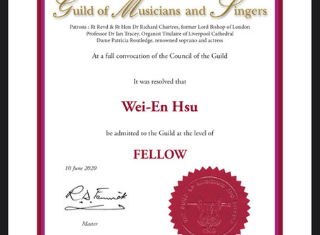 Elected the Fellow of the Guild of Musicians and Singers (FGMS)