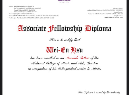 Awarded the Associate Fellowship Diploma of the National College of Music (AFNCollM)