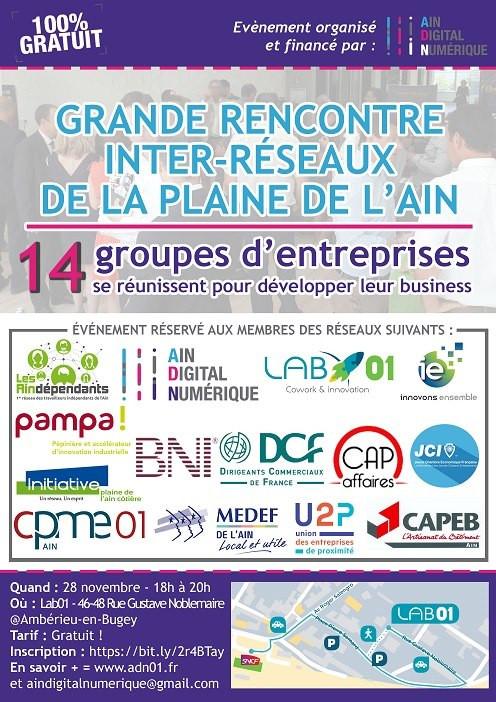 SAVE THE DATE : Grande rencontre inter-réseaux de la Plaine de l'Ain | le 28 novembre à 18h au L