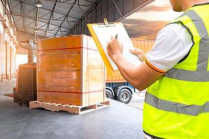 Cargo shipment loading for truck.Worker