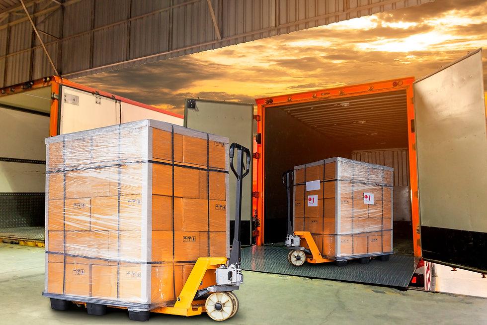 Cargo shipment loading for truck. Freigh