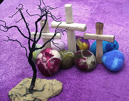 Wooden cross, wire tree, felted stones