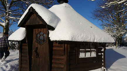 prayer house in the snow