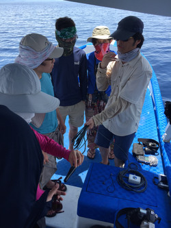 Dr. Harry Lin demonstrating hydrophone to students