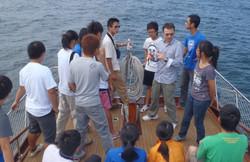 Undergraduate Field Class on a boat in H