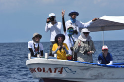 Students at sea learning field research