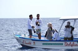Students at sea learning marine mammal r
