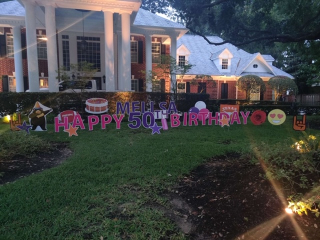 Houston Customized Yard Greeting Signs Birthday Lawn Sign