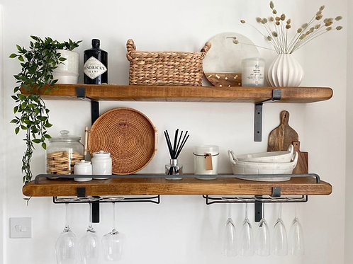 Rustic Shelves Set with 2 Glass Hangers and Bar
