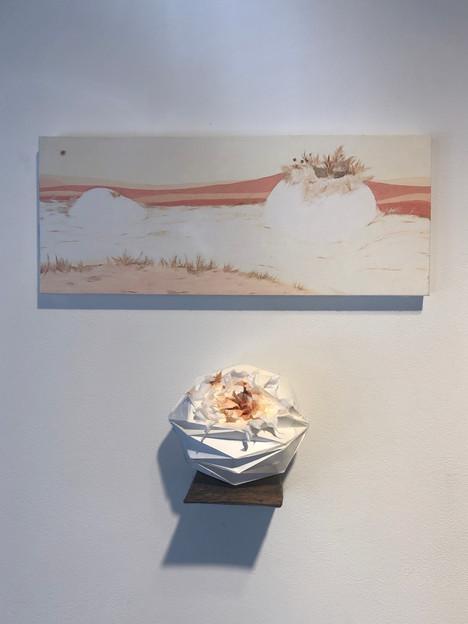 [유영경, 꿈달빛, 18 x 45 cm. 장지에 채색, 한지콜라주, 2020]