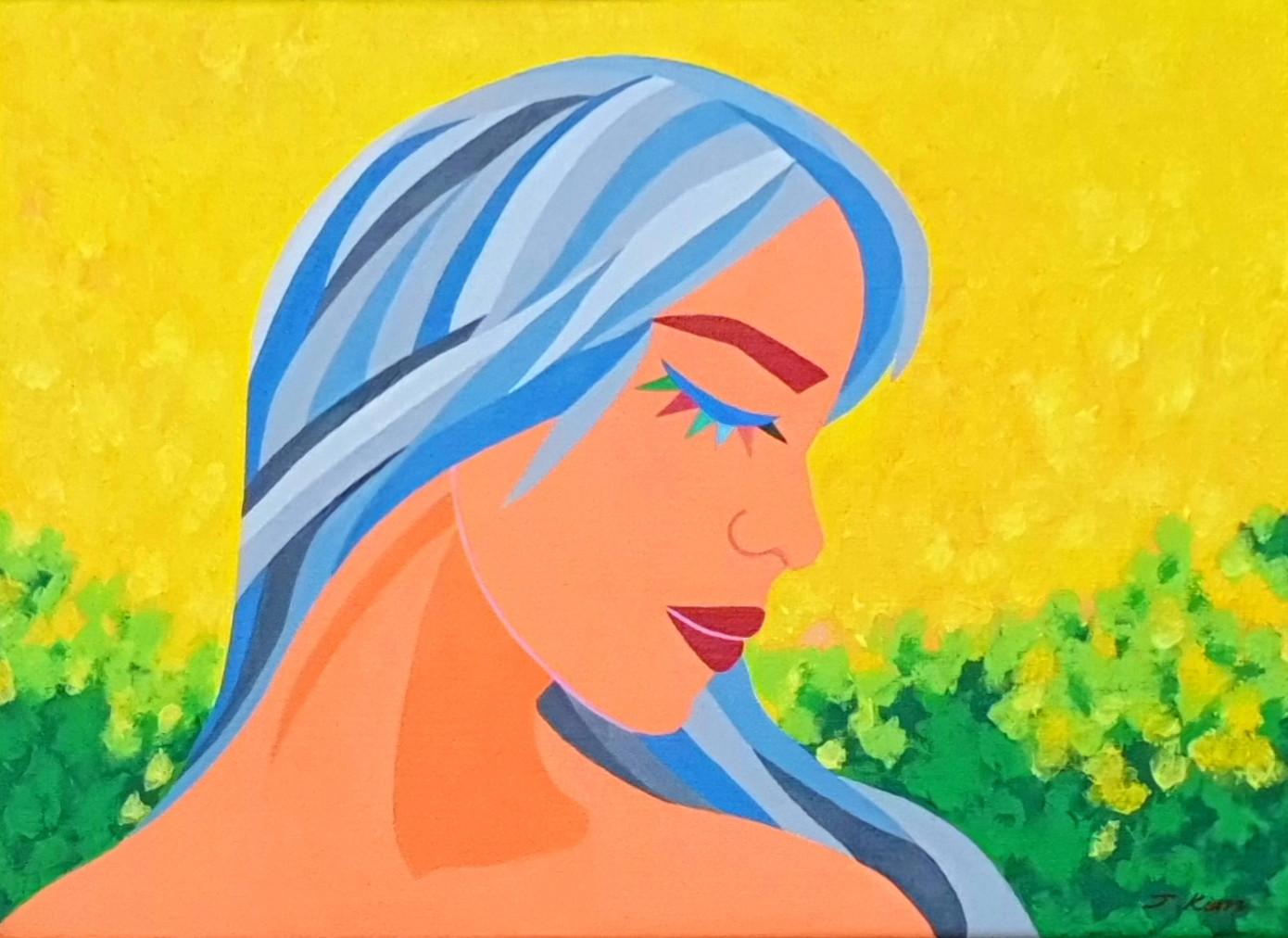 [제이킴, Beautiful girl, 봄처녀, 33.4 x 24.2 cm. Acrylic on Canvas, 2020]