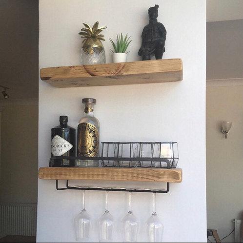 Floating Shelves inc Glass Holder and Steel Bar (2 shelves included)