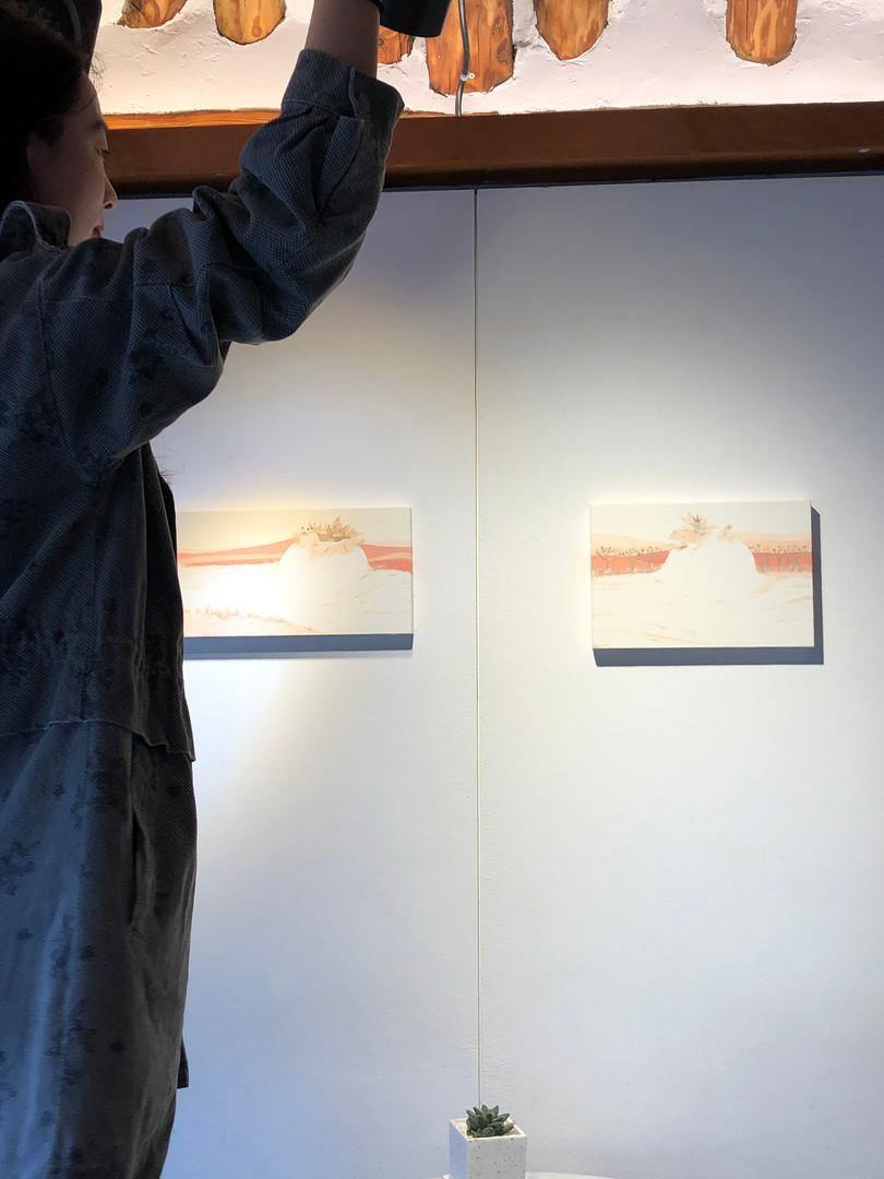 [유영경, 꿈달빛, 18 x 45 cm. 장지에 채색, 한지콜라주, 2020][유영경, 꿈달빛, 20 x 30 cm. 장지에 채색, 한지콜라주, 2020]