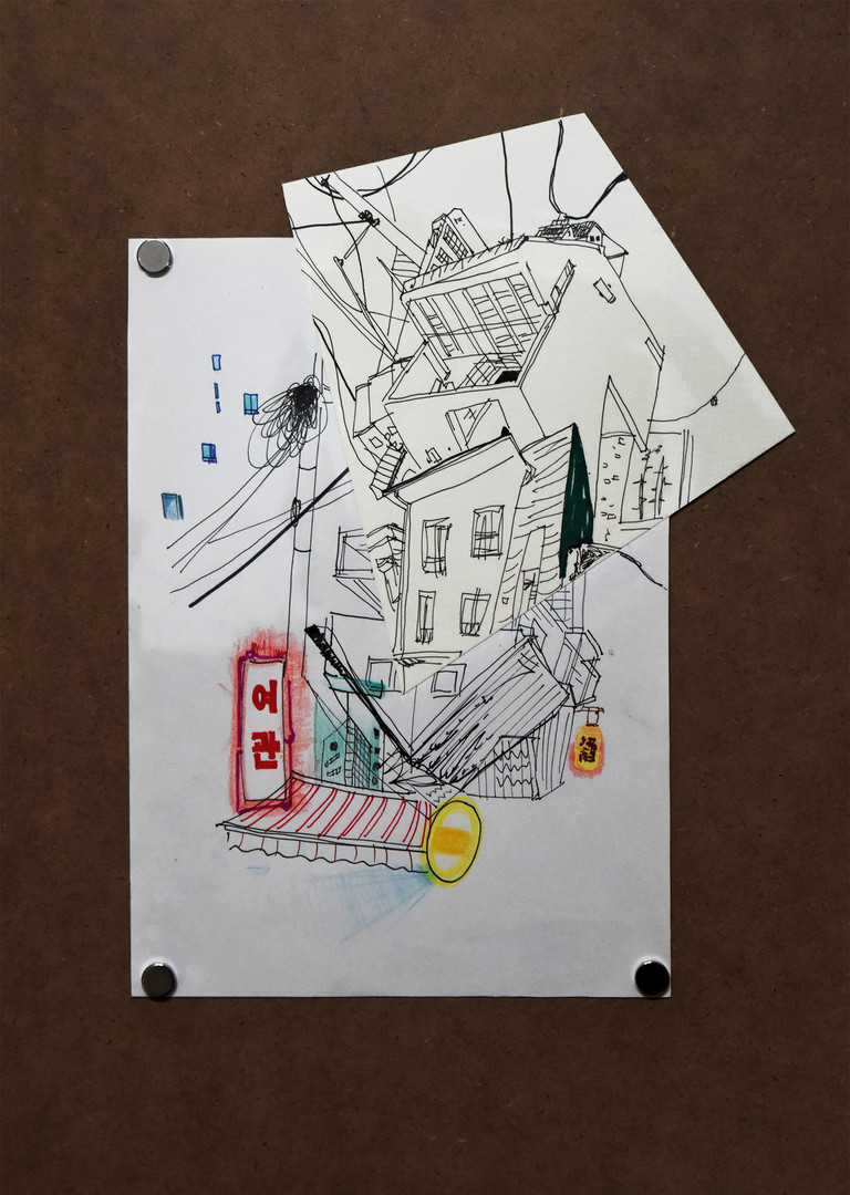 Drawing Collage_종이에 혼합재료_가변 크기_2020 (9).