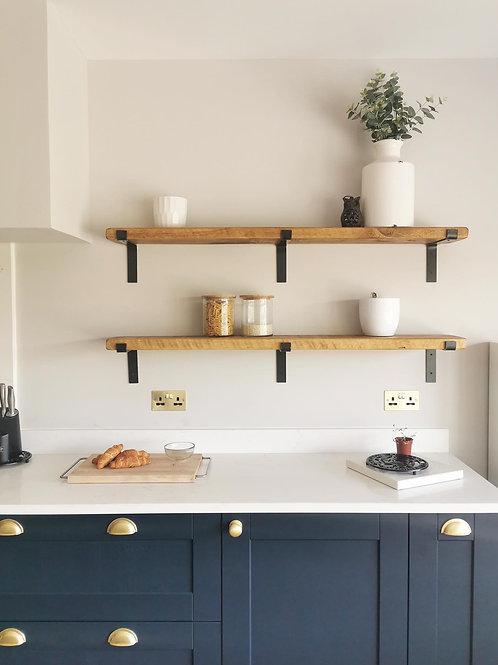 Rustic Shelf with Steel Brackets