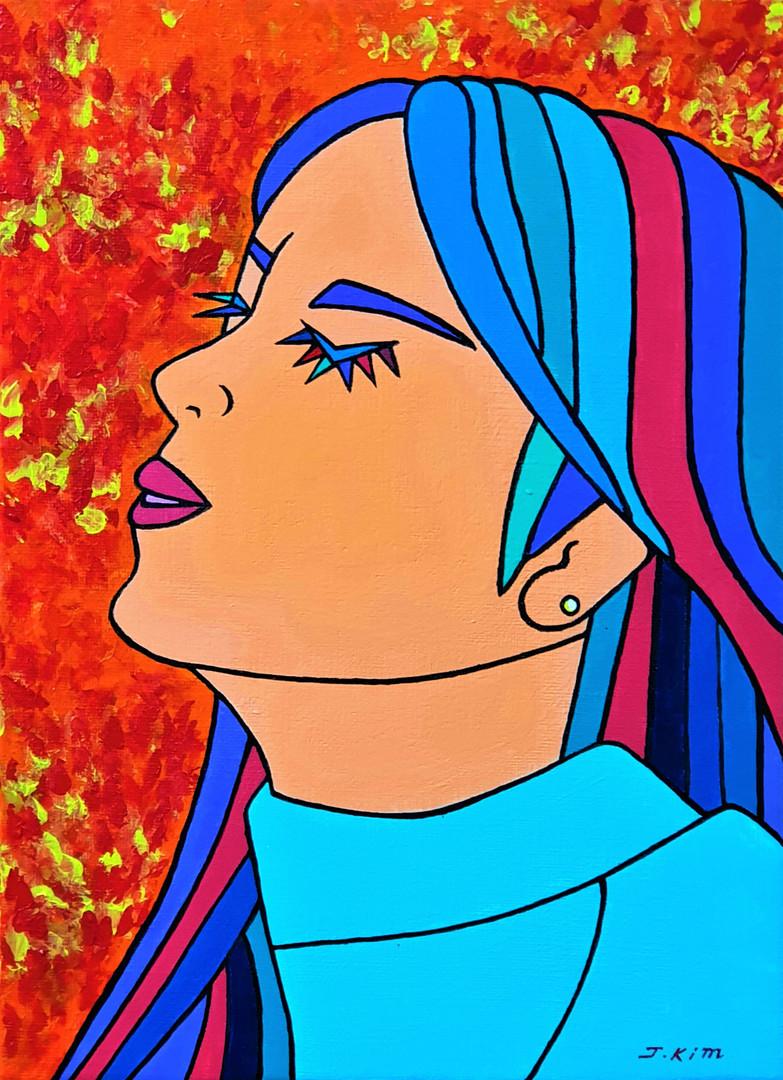 [제이킴, Beautiful girl, Dream, 33.4 x 24.2 cm. Acrylic on Canvas, 2019]