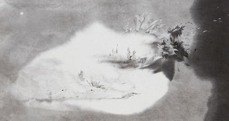10.바람꽃-Baramkkot, 105x56cm,_장지에 수묵,한지꼴라주