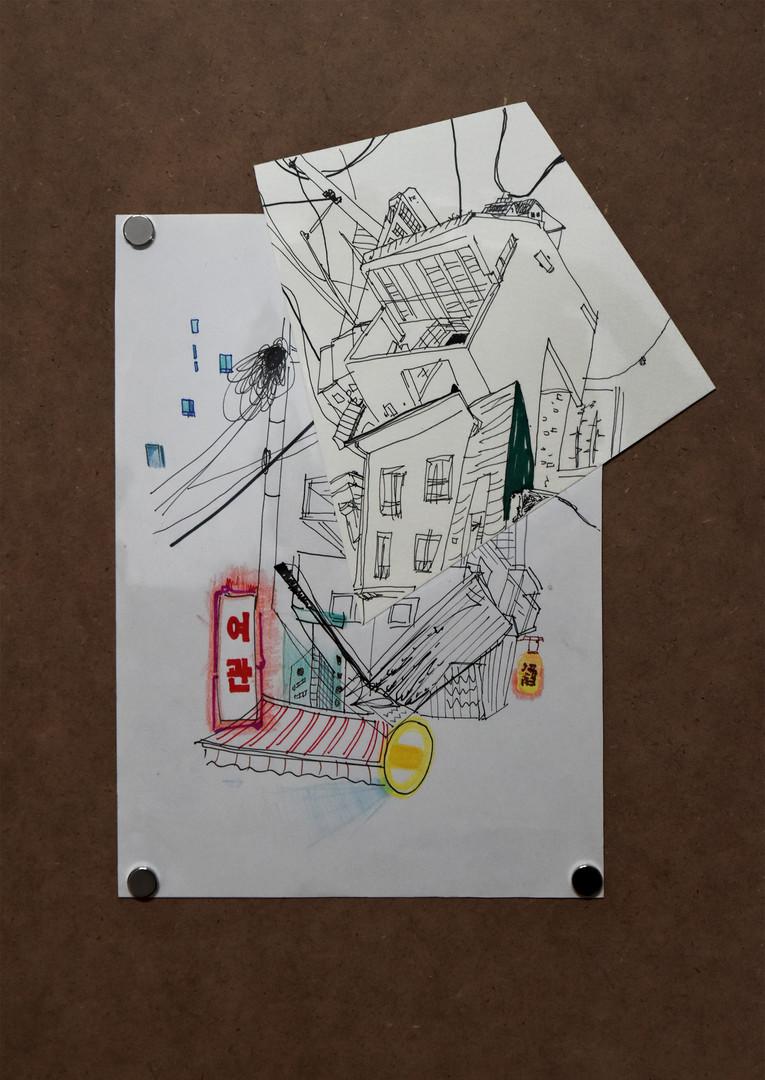 Drawing Collage_종이에 혼합재료_가변 크기_2020 (5).