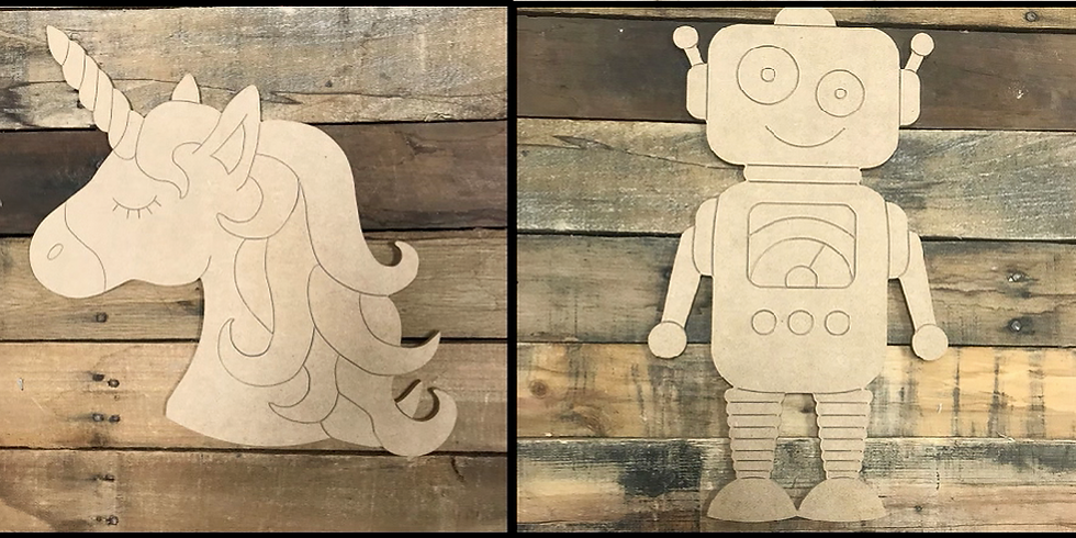 Kids Class! Paint-by-Line ~ Unicorn or Robot!