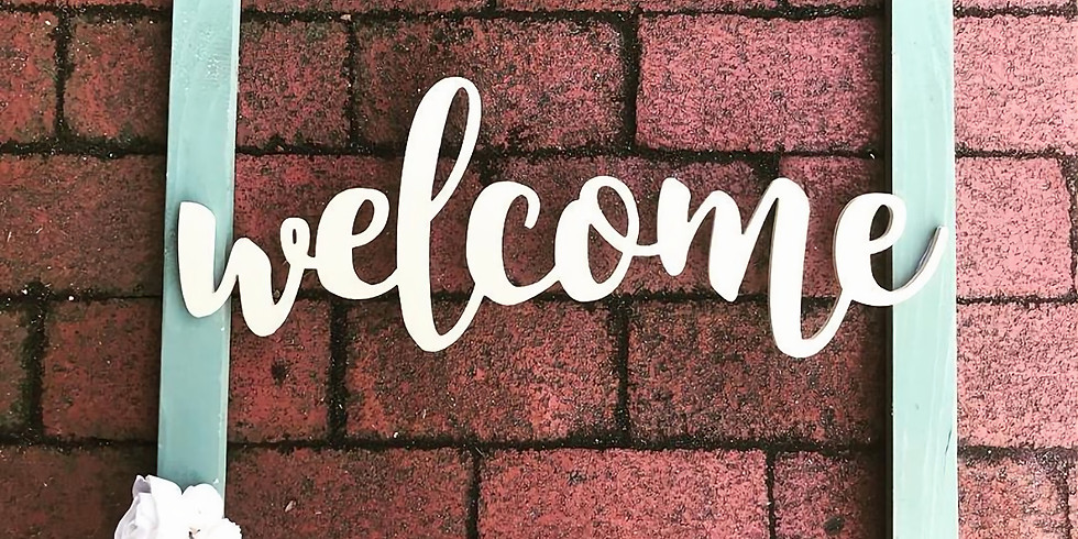 Large Welcome Frame Door Hanger with Sola Flowers
