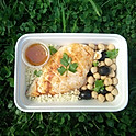 Chicken Breast with Chickpeas and Olives Salad