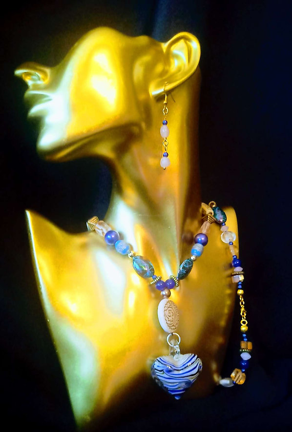 Blue Murano Heart Beaded Necklace