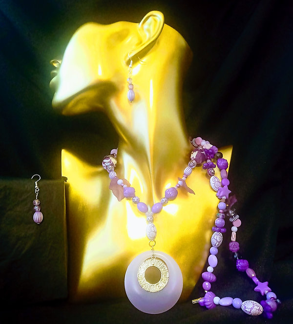 Purple Luxury Beaded Pendant Necklace and Matching Earrings
