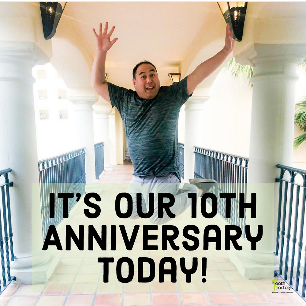 Dr. Rob is jumping up excitedly because we've been in business for 10 years