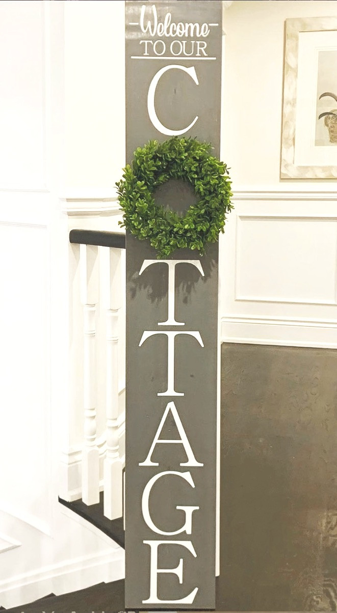 welcome to our cottage wooden sign with wreath