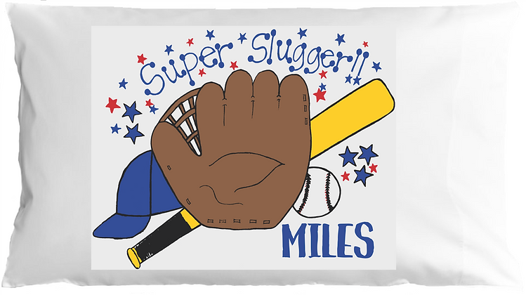 Baseball Slugger w/Custom Name Standard Pillowcase