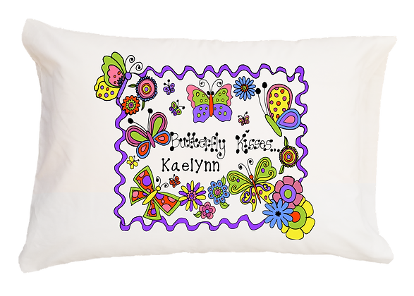 Butterfly Kisses w/Custom Name Standard Pillowcase