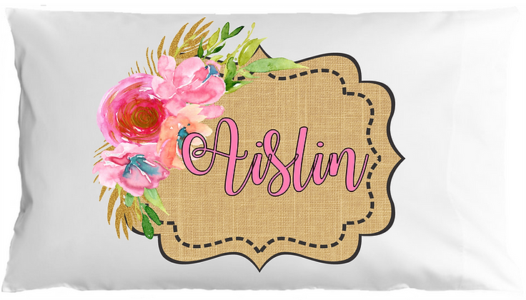 Burlap w/Custom Name Travel Pillow