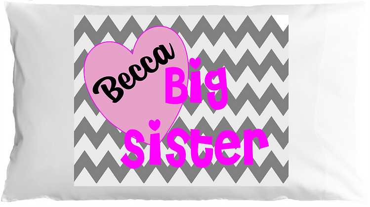 Big Sister Chevron w/Custom Name Standard Pillowcase