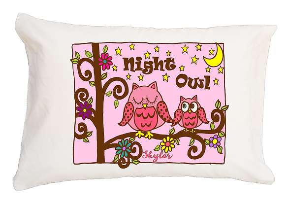 Night Owl w/Custom Name Travel Pillow