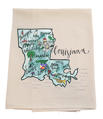 Louisiana Cities Tea Towel