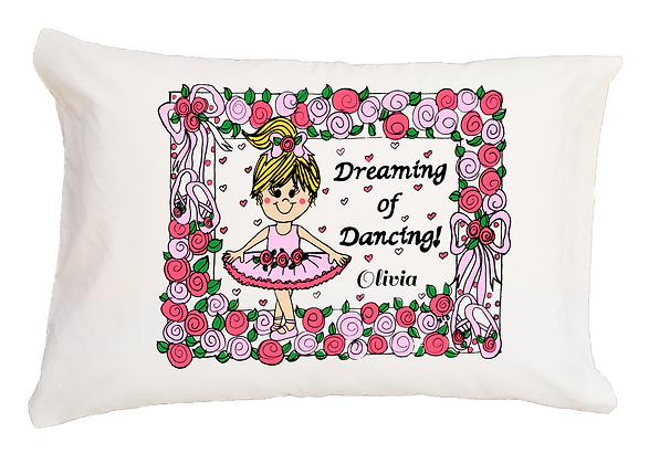 Ballerina w/Custom Name Standard Pillowcase